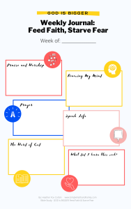 Weekly Journal sheet for feeding faith and starving fear